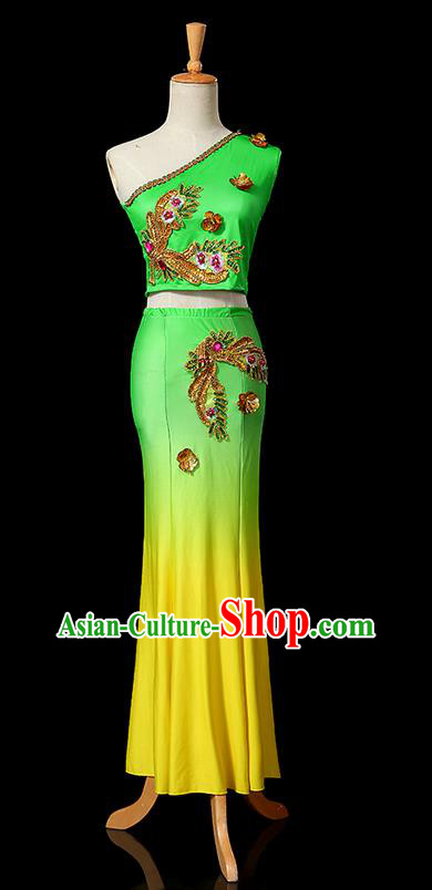 Traditional Chinese Dai Nationality Peacock Dancing Costume, Folk Dance Ethnic Fishtail Dress Uniform, Chinese Minority Nationality Dancing Green Clothing for Women
