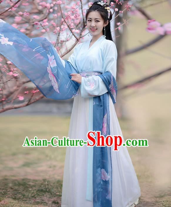 Traditional Ancient Chinese Young Lady Costume Embroidered Butterflies Slant Opening Blouse and Skirt Complete Set , Elegant Hanfu Clothing Chinese Song Dynasty Imperial Princess Clothing for Women