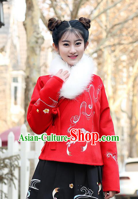 Traditional Ancient Chinese Young Lady Elegant Costume Embroidered Red Slant Opening Blouse, Elegant Hanfu Clothing Chinese Ming Dynasty Imperial Princess Clothing for Women