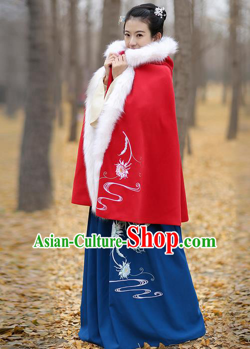 Traditional Chinese Ancient Ming Dynasty Princess Embroidered Wool Red Mantle Cape for Women