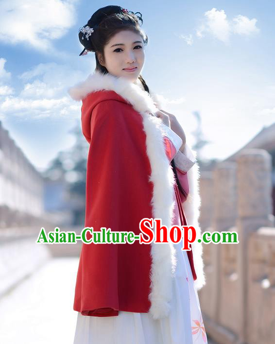 Traditional Chinese Ancient Ming Dynasty Princess Wool Red Mantle Cape for Women