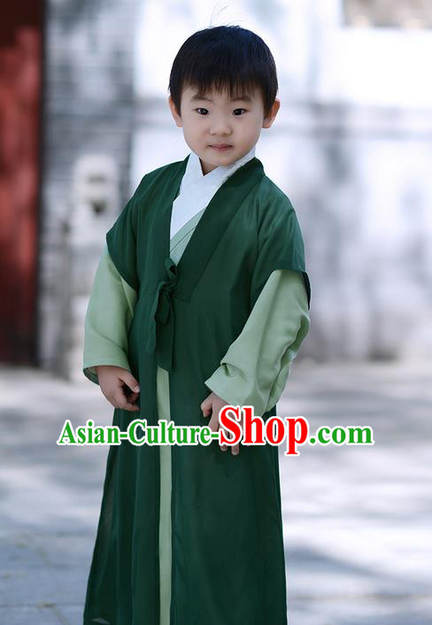 Traditional Ancient Chinese Children Elegant Costume Cardigan, Elegant Hanfu Clothing Chinese Han Dynasty Boys Scholar Clothing for Kids
