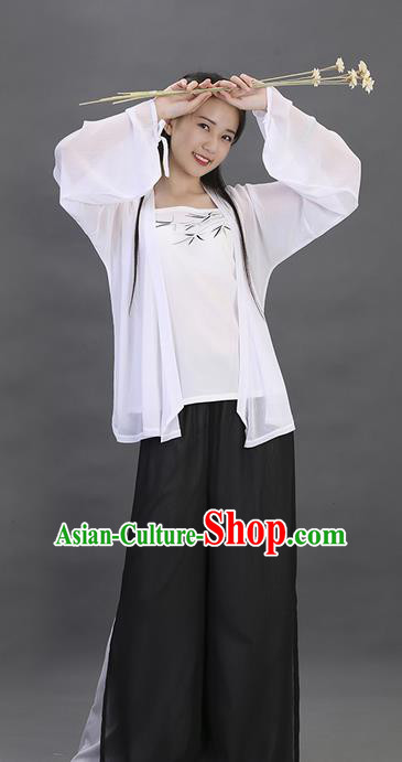 Traditional Ancient Chinese Young Lady Costume Embroidered White Blouse Boob Tube Top and Pants Complete Set, Elegant Hanfu Suits Clothing Chinese Song Dynasty Imperial Princess Dress Clothing for Women
