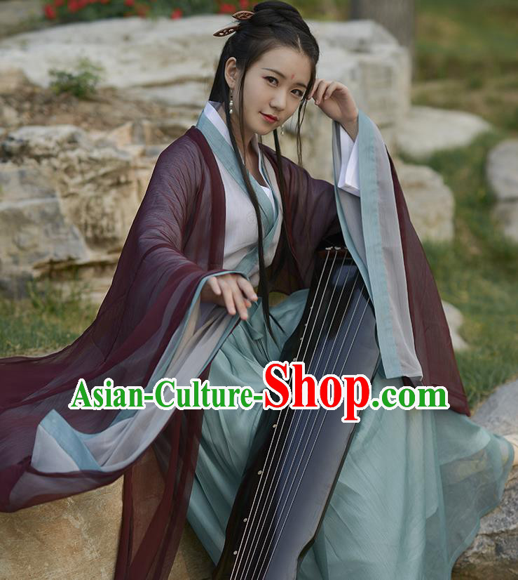 Traditional Ancient Chinese Elegant Costume Wide Sleeve Cardigan Slant Opening Blouse and Slip Skirt Complete Set, Elegant Hanfu Clothing Chinese Jin Dynasty Imperial Princess Clothing for Women