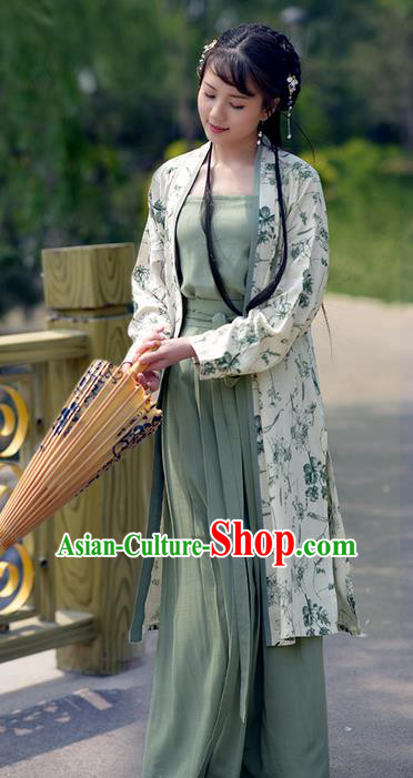 Traditional Ancient Chinese Young Lady Elegant Costume Embroidered BeiZi Long Cardigan, Elegant Hanfu Clothing Chinese Song Dynasty Imperial Princess Clothing for Women