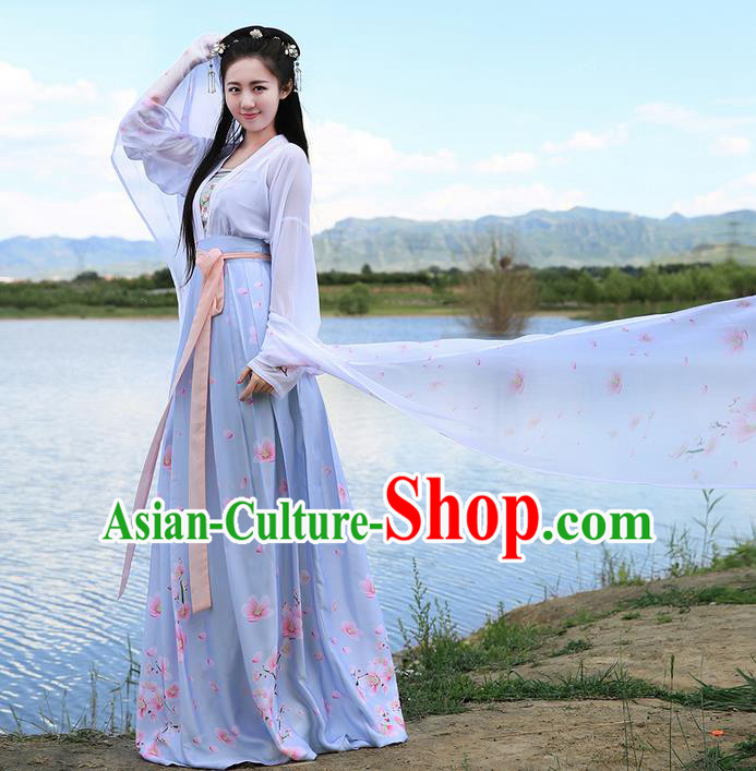 Traditional Ancient Chinese Young Lady Costume Embroidered Peach Blossom Blouse Boob Tube Top and Slip Skirt Complete Set, Elegant Hanfu Suits Clothing Chinese Tang Dynasty Imperial Princess Dress Clothing for Women