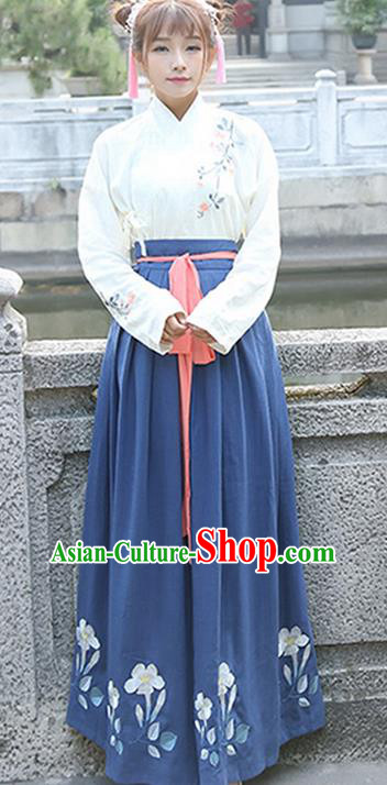 Traditional Ancient Chinese Young Lady Costume Embroidered Blouse and Blue Slip Skirt Complete Set, Elegant Hanfu Suits Clothing Chinese Ming Dynasty Imperial Princess Dress Clothing for Women