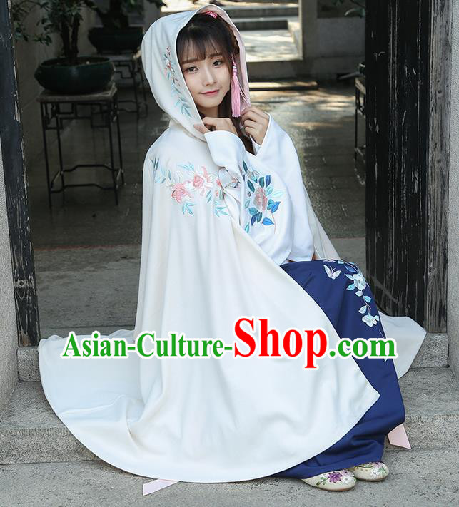 Traditional Chinese Ancient Ming Dynasty Princess Mantle Hooded Cape for Women