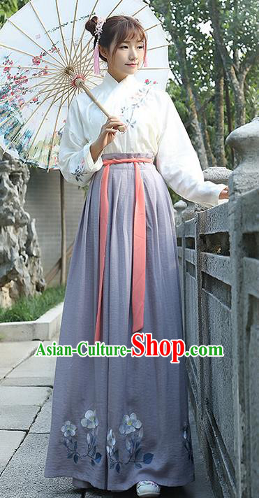 Traditional Ancient Chinese Young Lady Costume Embroidered Blouse and Grey Slip Skirt Complete Set, Elegant Hanfu Suits Clothing Chinese Ming Dynasty Imperial Princess Dress Clothing for Women