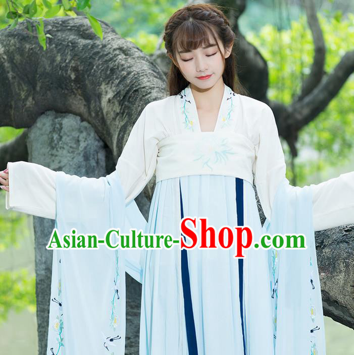 Traditional Ancient Chinese Young Lady Costume Embroidered Blue Wearing Silks, Elegant Hanfu Clothing Chinese Tang Dynasty Imperial Princess Brocade Scarf for Women