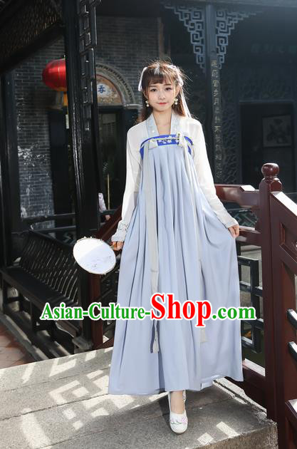 Traditional Ancient Chinese Young Lady Costume Embroidered Blouse and Grey Slip Skirt Complete Set, Elegant Hanfu Suits Clothing Chinese Tang Dynasty Imperial Princess Dress Clothing for Women