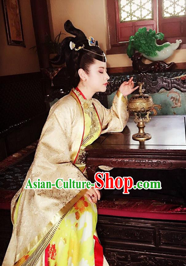 Traditional Ancient Chinese Imperial Consort Costume, Elegant Hanfu Clothing Chinese Ming Dynasty Imperial Empress Tailing Embroidered Clothing, Cosplay Chinese Television Drama Flying Daggers Queen Hanfu Clothing for Women
