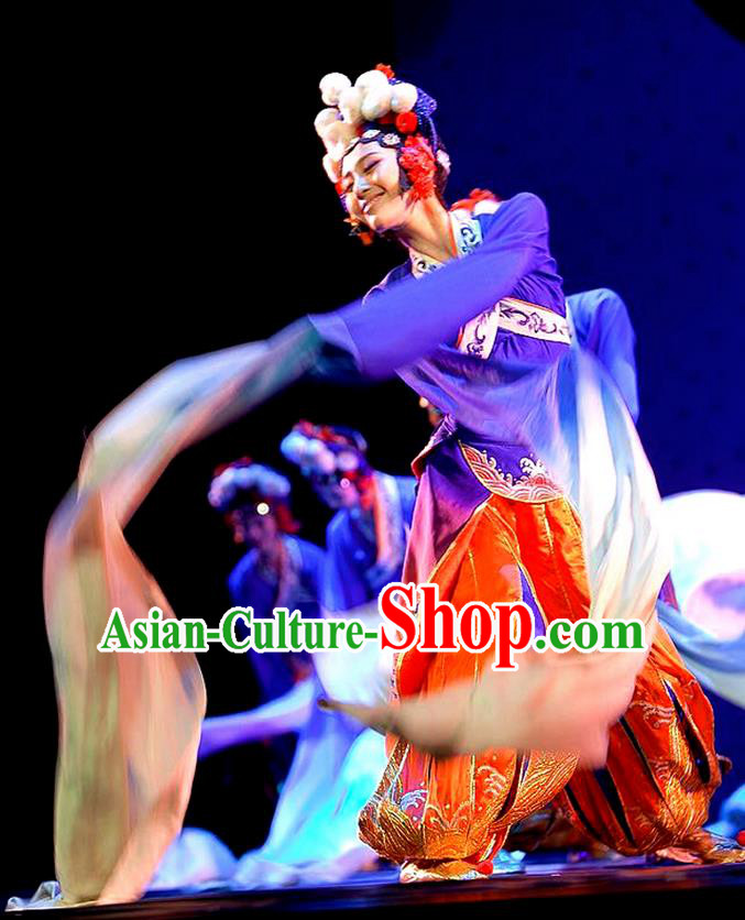 Traditional Chinese Ancient Peking Opera Water Sleeve Dancing Costume, Classical Folk Dance Costume Drum Dance Clothing for Women