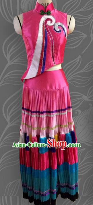 Traditional Chinese Yi Nationality Dancing Costume, Female Folk Dance Ethnic Pleated Skirt, Chinese Yi Minority Nationality Embroidery Costume for Women