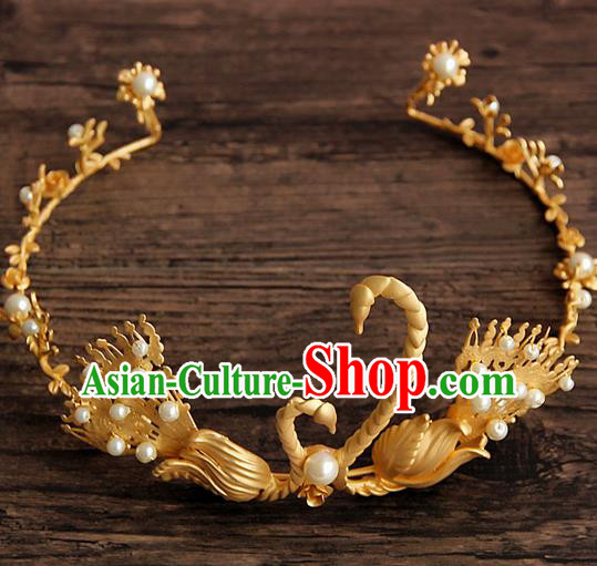 Top Grade Handmade Chinese Classical Hair Accessories, Children Headband Crystal Princess Royal Crown Golden Goose Coronet, Hair Sticks Hair Jewellery, Hair Clasp for Kids Girls