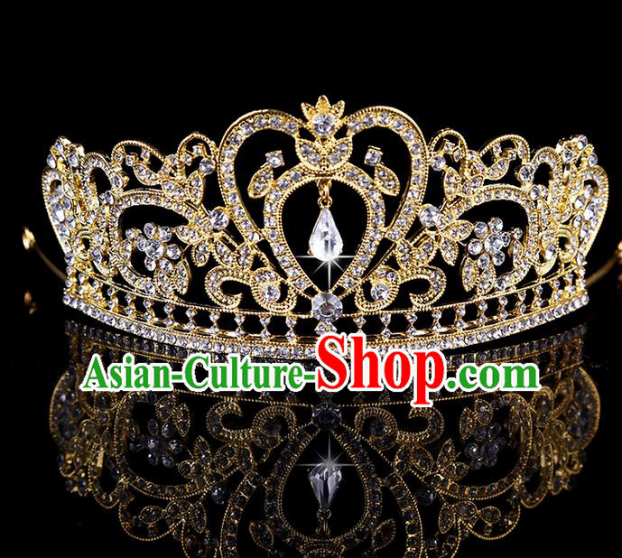 Top Grade Handmade Chinese Classical Hair Accessories, Children Headband Crystal Crown Gold Coronet, Hair Sticks Hair Jewellery, Hair Clasp for Kids Girls