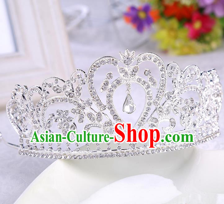 Top Grade Handmade Chinese Classical Hair Accessories, Children Headband Crystal Princess Royal Crown Silvery Coronet, Hair Sticks Hair Jewellery, Hair Clasp for Kids Girls