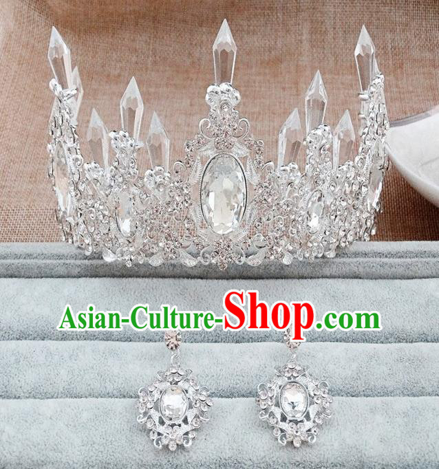 Top Grade Handmade Chinese Classical Hair Accessories, Children Headband Crystal Princess Royal Crown Silvery Coronet and Earrings, Hair Sticks Hair Jewellery, Hair Clasp for Kids Girls