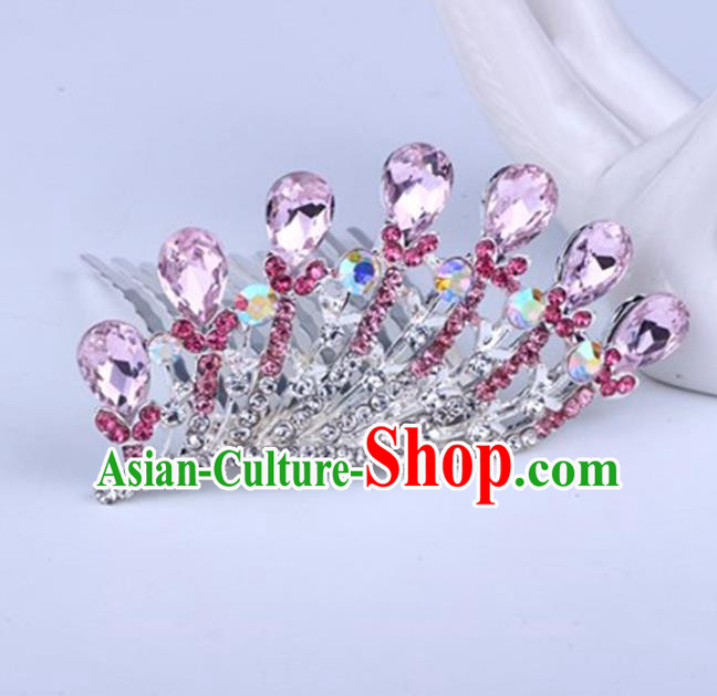 Top Grade Handmade Chinese Classical Hair Accessories, Children Baroque Style Headband Princess Royal Crown Pink Rhinestone Coronet, Hair Sticks Hair Jewellery, Hair Clasp for Kids Girls