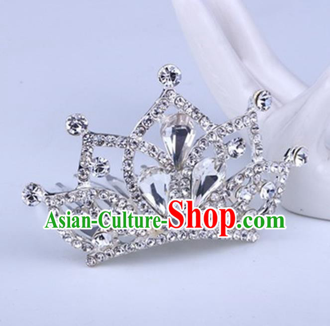 Top Grade Handmade Chinese Classical Hair Accessories, Children Baroque Style Headband Princess Royal Crown Rhinestone Imperial Crown, Hair Sticks Hair Jewellery, Hair Clasp for Kids Girls