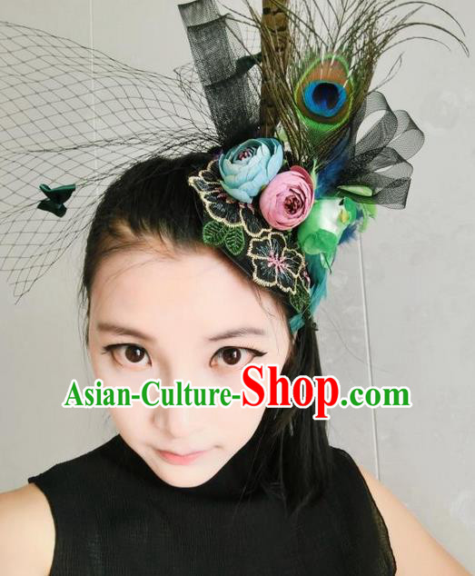 Top Grade Handmade Chinese Classical Hair Accessories, Children Baroque Style Headband Princess Black Royal Feather Crown, Hair Sticks Hair Jewellery, Hair Clasp for Kids Girls