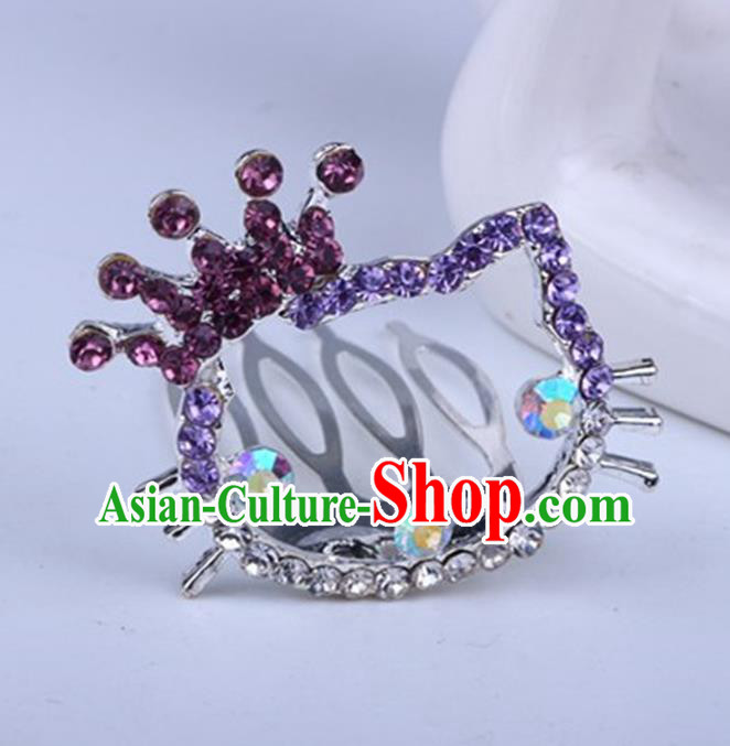 Top Grade Handmade Chinese Classical Hair Accessories, Children Baroque Style Headband Princess Purple Rhinestone Royal Crown, Hair Sticks Hair Jewellery, Cartoon Hair Clasp for Kids Girls