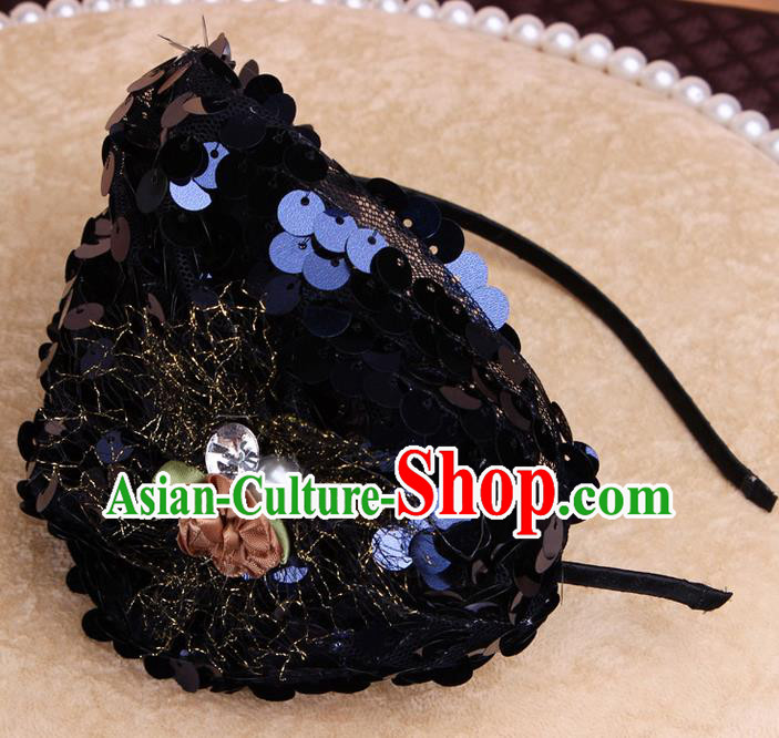 Top Grade Handmade Chinese Classical Hair Accessories, Children Baroque Style Headband Princess Black Paillette Hair Clasp, Hair Sticks Hair Jewellery for Kids Girls