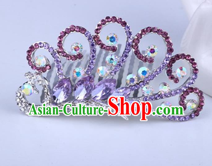 Top Grade Handmade Classical Peacock Hair Accessories, Children Baroque Style Crystal Rhinestone Princess Purple Royal Crown Hair Jewellery Hair Clasp for Kids Girls