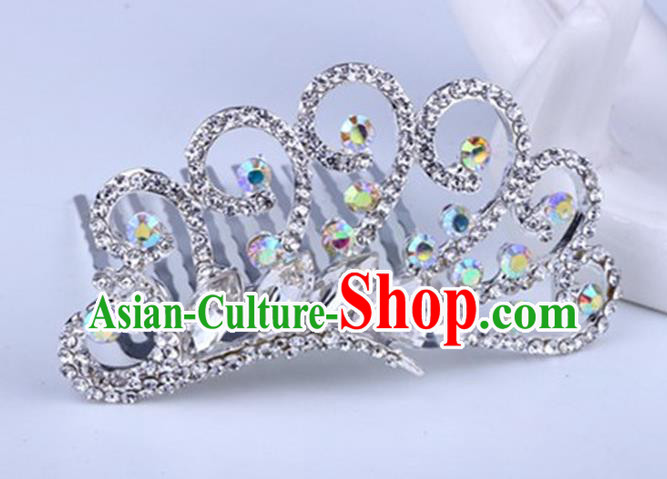 Top Grade Handmade Classical Peacock Hair Accessories, Children Baroque Style Crystal Hairpins Rhinestone Princess White Royal Crown Hair Jewellery Hair Clasp for Kids Girls