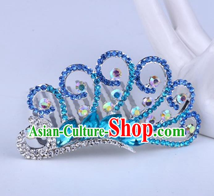 Top Grade Handmade Classical Peacock Hair Accessories, Children Baroque Style Crystal Hairpins Rhinestone Princess Blue Royal Crown Hair Jewellery Hair Clasp for Kids Girls