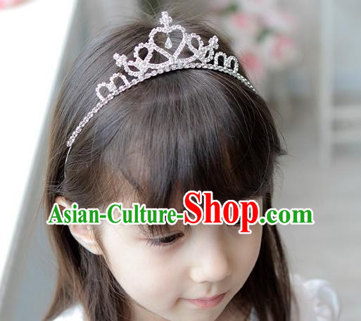 Top Grade Handmade Classical Hair Accessories, Children Baroque Style Crystal Princess Royal Crown Hair Jewellery Hair Clasp for Kids Girls