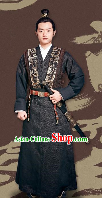Traditional Ancient Chinese Housecarl Costume and Handmade Headpiece Complete Set, Chinese Television Concubine Meng Comes Across Knight Tang Dynasty Imperial Bodyguard Clothing for Men