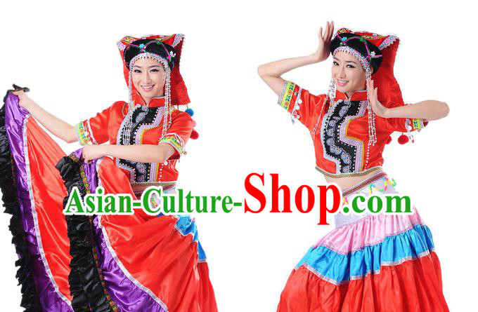 Traditional Chinese Yangge Fan Dancing Costume and Accessories