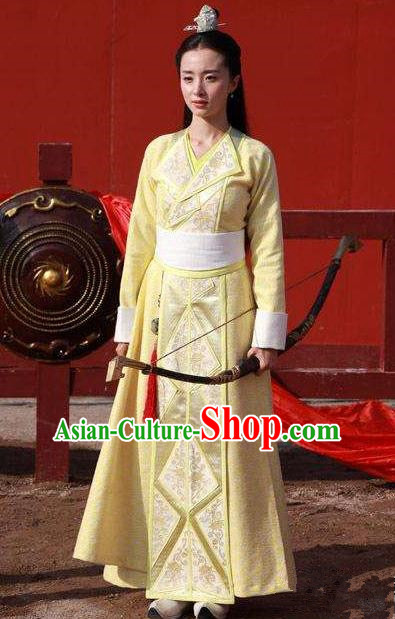Traditional Chinese Ancient Princess Dress Costume, Chinese Northern and Southern Dynasties Television Tokgo World Swordswoman Hanfu Clothing and Headpiece Complete Set for Women