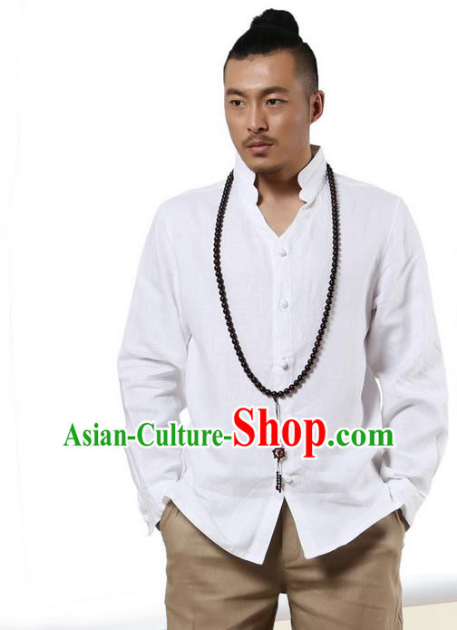 Traditional Chinese Kung Fu Costume Martial Arts Linen Stand Collar Shirts Pulian Clothing, China Tang Suit Tai Chi Overshirt White Upper Outer Garment for Men