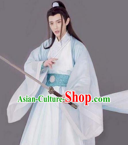 Traditional Chinese Ancient Nobility Childe Costume and Headwear Complete Set, Xuan-Yuan Sword Legend  The Clouds of Han the Three Kingdoms Swordsman Hanfu Clothing for Men