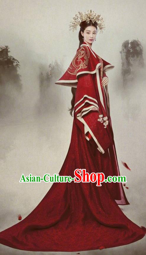 Traditional Chinese Ancient Imperial Empress Costume and Headpiece Complete Set, Chinese Teleplay Flower Shabana Flyings Sky Song Dynasty Queen Wedding Clothing for Women