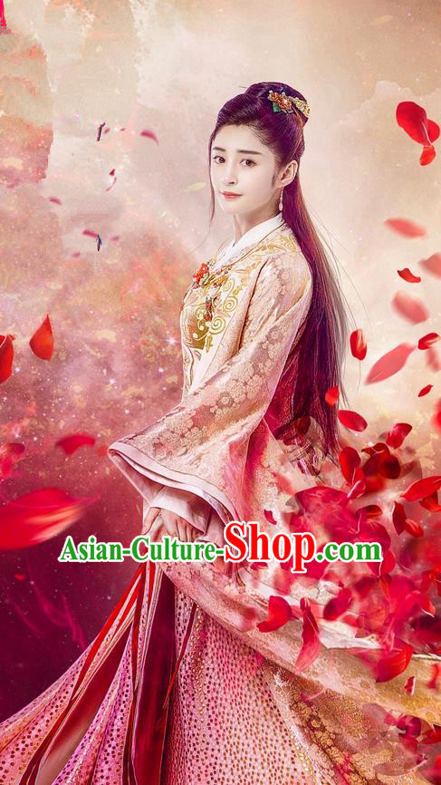 Traditional Chinese Ancient Princess Costume, Chinese Teleplay Flower Shabana Flyings Sky Song Dynasty Palace Lady Infanta Clothing and Headpiece Complete Set for Women