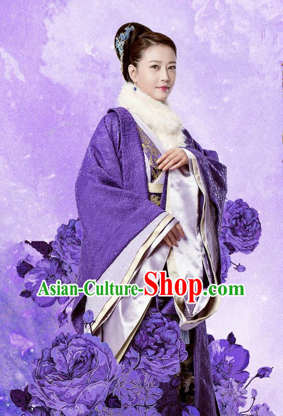 Traditional Chinese Ancient Song Dynasty Imperial Consort Costume and Headpiece Complete Set, Chinese Teleplay Flower Shabana Flyings Sky Palace Lady Embroidered Dress for Women