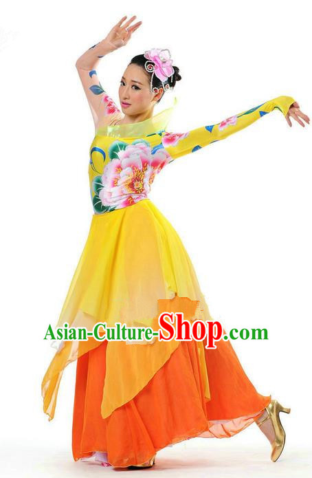 Chinese Classic Stage Performance Chorus Singing Group Dance Costumes, Opening Dance Big Swing Flowers Dress for Women