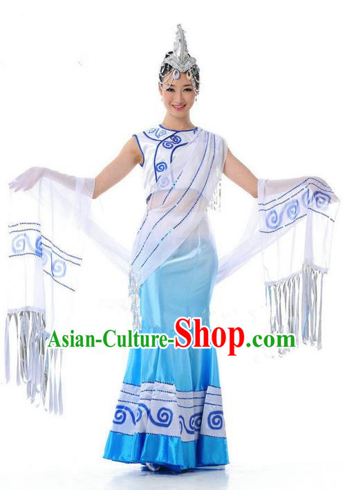 Traditional Chinese Dai Nationality Dance Costume, Folk Dance Ethnic Blue Dress, Chinese Dai Minority Nationality Dance Clothing for Women
