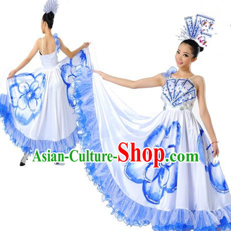 Chinese Classic Stage Performance Chorus Singing Group Dance Costumes, Opening Dance Folk Dance Big Swing Blue Dress for Women
