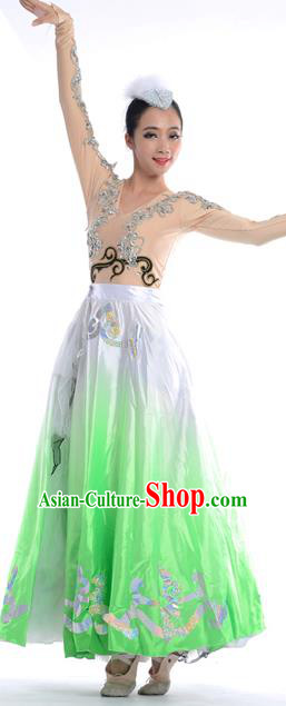 Chinese Classic Stage Performance Chorus Singing Group Dance Costumes, Opening Dance Folk Dance Big Swing Green Dress for Women