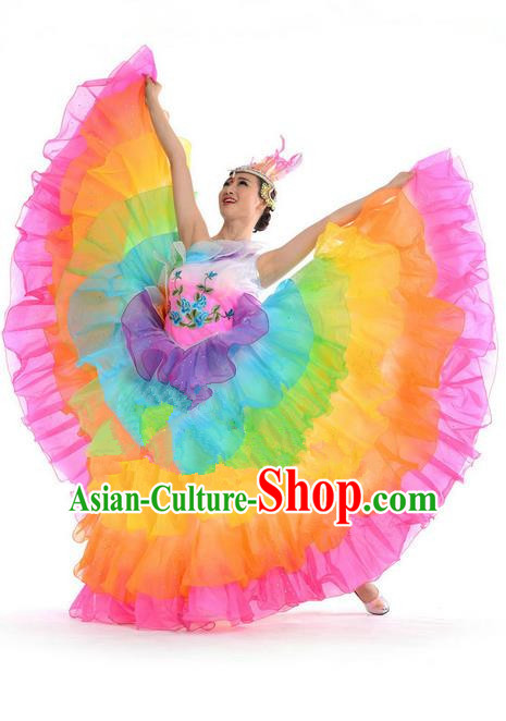 Chinese Classic Stage Performance Chorus Singing Group Dance Costumes, Opening Dance Folk Dance Big Swing Dress for Women