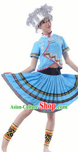Traditional Chinese Miao Nationality Dancing Costume, Hmong Female Folk Dance Ethnic Pleated Skirt, Chinese Miao Minority Nationality Blue Dress for Women