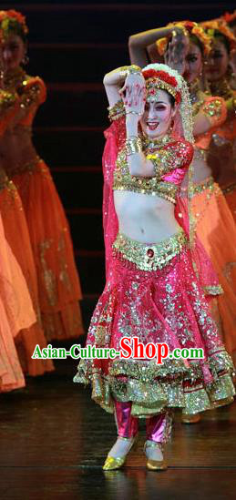 High-quality Indian Dance Costumes for Belly Dance, Raks Sharki Dancing Red Dress Clothing for Women