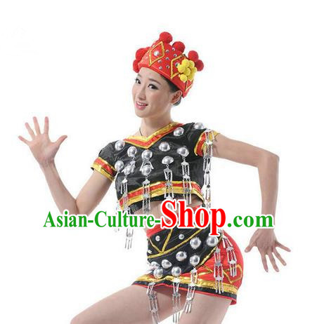 Traditional Chinese Miao Nationality Dancing Costume, Hmong Female Folk Dance Ethnic Cloth, Chinese Tujia Minority Nationality Dance Clothing for Women