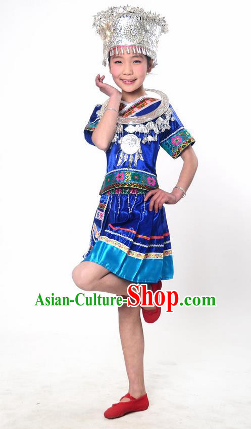 Traditional Chinese Miao Nationality Dancing Costume, Hmong Children Folk Dance Ethnic Pleated Skirt, Chinese Miao Minority Embroidery Blue Clothing for Kids