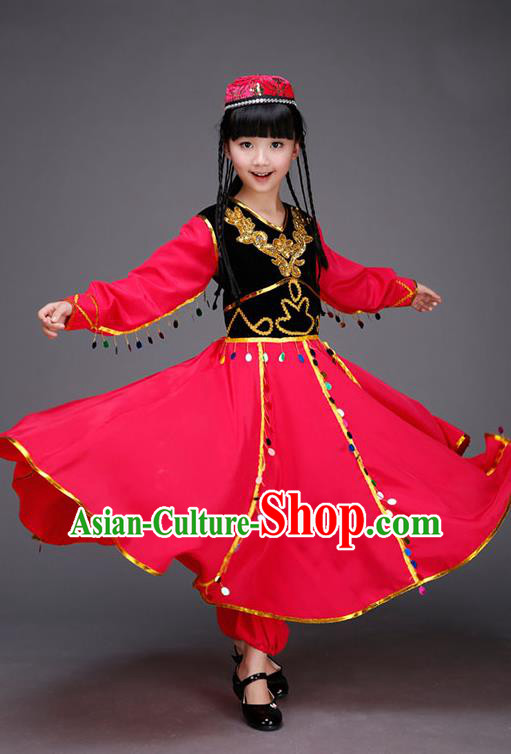 Traditional Chinese Uyghur Nationality Dancing Costume, Children Folk Dance Ethnic Costume, Chinese Minority Nationality Uigurian Dance Costume for Kids