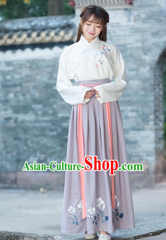 Traditional Ancient Chinese Costume, Elegant Hanfu Clothing Embroidered Slant Opening Blouse and Dress, China Ming Dynasty Princess Elegant Blouse and Ru Skirt Complete Set for Women